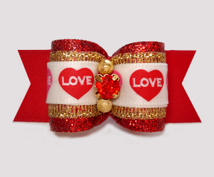"#A7524- 7/8"" Dog Bow- Gorgeous Red Glitter/Gold w/Love Hearts"