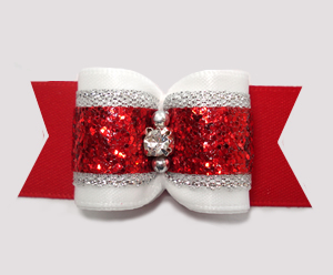 "#A7525 - 7/8"" Dog Bow - Stunning Red/White w/Silver & Glitter"
