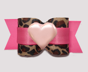 "#A7527 - 7/8"" Dog Bow - Gorgeous Leopard Print w/Pink Sweetheart"