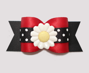 "#A7554 - 7/8"" Dog Bow - Delighful Daisy Dots, Red/Black"