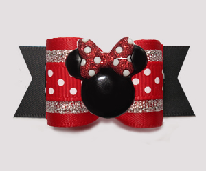 "#A7556 - 7/8"" Dog Bow - Classic Minnie Mouse, Red/Black"