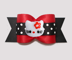 "#A7559 - 7/8"" Dog Bow - Hello Little Kitty with Dots, Red/Black"