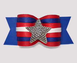 "#A7560 - 7/8"" Dog Bow - Patriotic Star, Red/White/Blue"