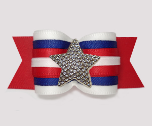 "#A7561 - 7/8"" Dog Bow - Patriotic Star, White/Blue/Red"