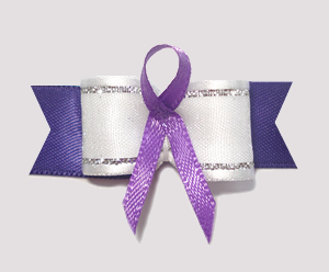 "#AB8003 - 5/8"" Dog Bow - Purple Awareness Ribbon"