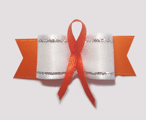"#AB8004 - 5/8"" Dog Bow - Orange Awareness Ribbon"