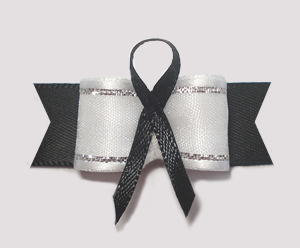 "#AB8005 - 5/8"" Dog Bow - Black Awareness Ribbon"