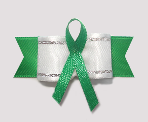 "#AB8007 - 5/8"" Dog Bow - Green Awareness Ribbon"