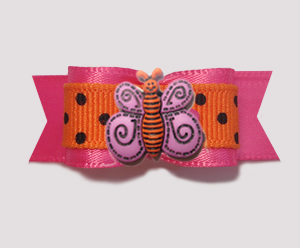 "#B1430 - 5/8"" Dog Bow - Hot Pink & Orange, Black Dots, Butterfly"