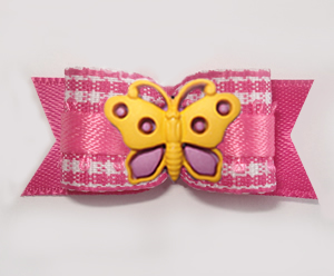 "#1622B - 5/8"" Dog Bow - Sweet Pink & White Gingham, Butterfly"