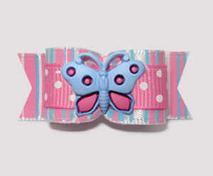 "#B1811 - 5/8"" Dog Bow - Sweet Cotton Candy, Butterfly"