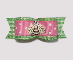 "#1845B - 5/8"" Dog Bow - Spring Picnic, Pink/White & Green, Bee"