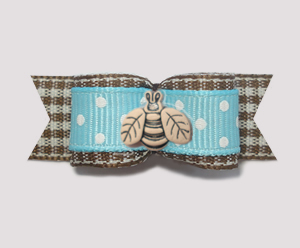 "#1846B - 5/8"" Dog Bow - Spring Picnic, Blue/White & Brown, Bee"