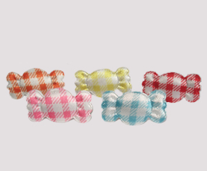 #BAR01071G - Dog Barrette - Sweet Gingham Candy, 5 Pack