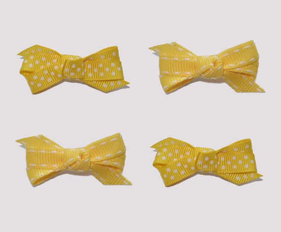 #BAR01089 - 4 Dog Bows with Barrettes - Fun Lemon Yellow, Dots