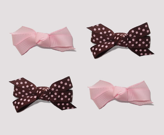 #BAR01090 - Dog Bows with Barrettes - Strawberry & Chocolate