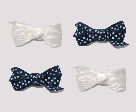 #BAR01092- 4 Dog Bows with Barrettes - Navy/White Dots and White