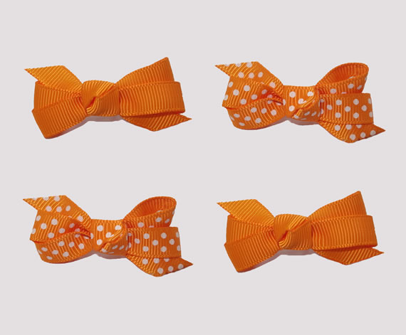 #BAR01093- 4 Dog Bows with Barrettes- Vibrant Orange, White Dots
