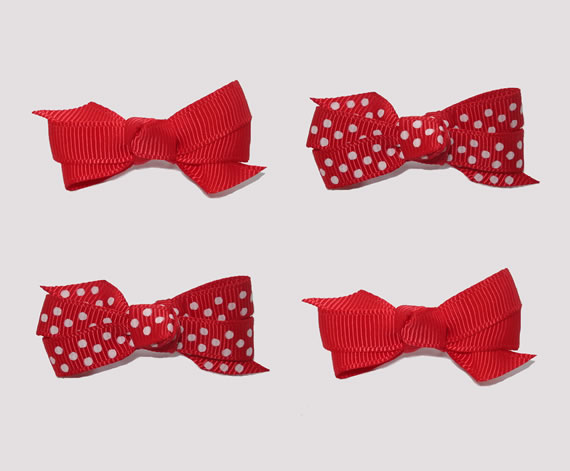 #BAR01096 - 4 Dog Bows with Barrettes - Classic Red, Dots