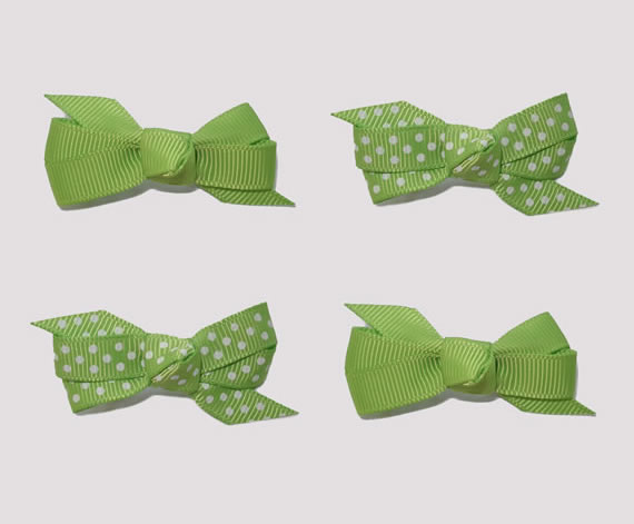 #BAR01098 - 4 Dog Bows with Barrettes - Fun Green, White Dots