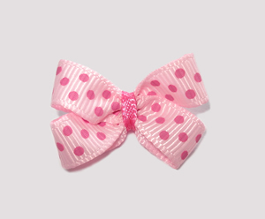 #BBTQ400 - Baby Boutique Bow - Pearl Pink with Pink Dots