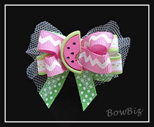 #BTQ065 - Boutique Dog Bow- Bursting w/Good Taste, Watermelon