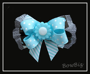 #BTQ160 - Boutique Dog Bow - Ribbon and Blues