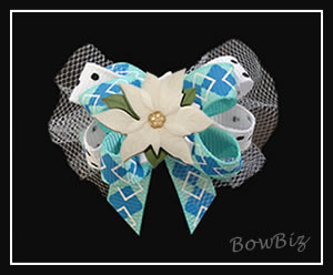 #BTQ200 - Boutique Dog Bow - Winter Blue Argyle, Poinsettia