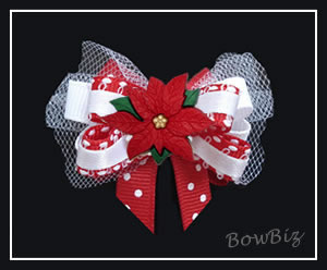 #BTQ210 - Boutique Dog Bow - Classic Holiday Red Poinsettia