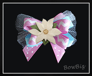 #BTQ220 - Boutique Dog Bow - Princess Pink/Blue w/Poinsettia