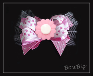 #BTQ240 - Boutique Dog Bow - Pretty In Pink, Daisy