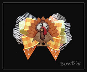 #BTQ270 - Boutique Dog Bow - Awesome Autumn Turkey