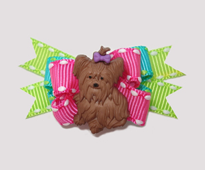 #BTQM008 - Mini Boutique Bow Yorkie Love, Neon Brights