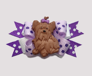 #BTQM044 - Mini Boutique Bow Pretty Pup in Purples, Yorkie