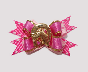 #BTQM165 - Mini Boutique Bow Cowgirl Beauty, Gold Horseshoe