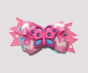 #BTQM210- Mini Boutique Bow Cotton Candy Butterfly, Pink/Blue