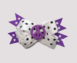 #BTQM290 - Mini Boutique Dog Bow Peace is Cool, Purple