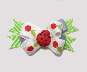 #BTQM310- Mini Boutique Bow Little Cherries, Ladybug on White