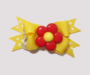 #BTQM330 - Mini Boutique Dog Bow Flower Power, Red/Yellow