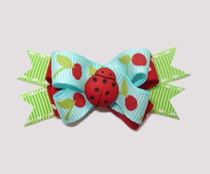 #BTQM340 - Mini Boutique Bow Little Cherries, Ladybug on Blue