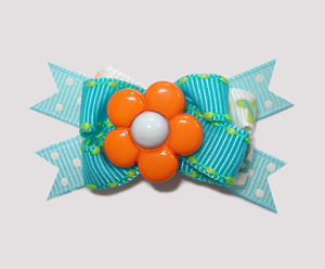 #BTQM380 - Mini Boutique Bow Flower Power, Orange/Blue