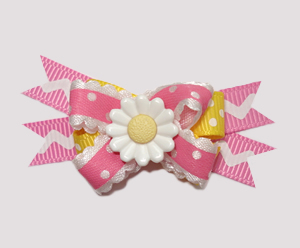 #BTQM450 - Mini Boutique Dog Bow Country Cottage Daisy, Pink
