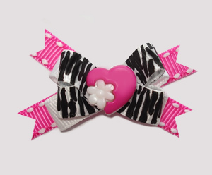 #BTQM480 - Mini Boutique Dog Bow Zebra/Pink, Wild At Heart