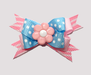 #BTQM500 - Mini Boutique Bow Baby Sweet Blue/Pink, Pink Daisy