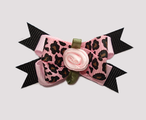 #BTQM510 - Mini Boutique Bow Diva Girl, Pink Leopard, Rosette