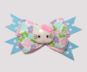 #BTQM530- Mini Boutique Bow Pastel Floral, Garden Party Kitty