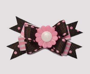 #BTQM560 - Mini Boutique Bow Flower Power, Chocolate/Pink