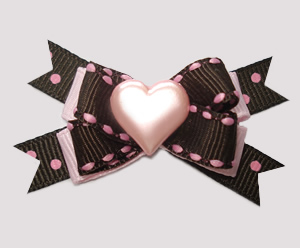 #BTQM720 - Mini Boutique Bow Chocolate/Strawberry, Pink Heart