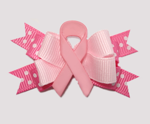 #BTQM780 - Mini Boutique Bow Cancer Awareness, Pink Ribbon