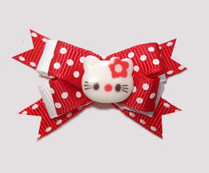 #BTQM790 - Mini Boutique Bow Hello Little Kitty, Red/White